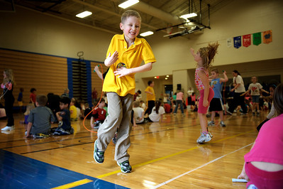 Daniel J. Murphy - dmurphy@shawmedia.com  William Papcke 6, of Lake in the Hills dances with classmates during the American Heart Association's annual Jump Rope for Heart Wednesday March 7, 2012 at Chesak Elementary School in Lake in the Hills.
