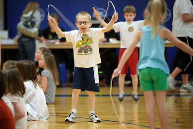 Daniel J. Murphy - dmurphy@shawmedia.com  Shane McGuimn, 6, of Huntley jumps rope Wednesday March 7, 2012 at Chesak Elementary School in Lake in the Hills. Chesak is one of the top fund-raisers for the American Heart Association's Jump Rope for Heart.