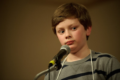 "Daniel J. Murphy - dmurphy@shawmedia.com  St. John the Baptist Catholic School's Nickolas Riedel misspells ""cheka"" in the McHenry County Spelling Bee Wednesday March 7, 2012 at McHenry County College in Crystal Lake. Lucas Urbanski went on to win the competition in the 29th round."