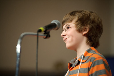 Daniel J. Murphy - dmurphy@shawmedia.com  McHenry Middle School's Lucas Venetucci smiles after winning the McHenry County Spelling Bee in the 29th round Wednesday March 7, 2012 at McHenry County College in Crystal Lake.