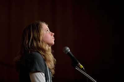 "Daniel J. Murphy - dmurphy@shawmedia.com SS. Peter and Paul Catholic School's Scarlett Costello collects her thoughts before misspelling ""boulevard"" in the 15th round of the McHenry County Spelling Bee Wednesday March 7, 2012 at McHenry County College in Crystal Lake."