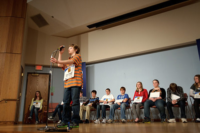 Daniel J. Murphy - dmurphy@shawmedia.com  McHenry Middle School's Lucas Urbanski, 12, spells a word in the McHenry County Spelling Bee Wednesday March 7, 2012 at McHenry County College in Crystal Lake.