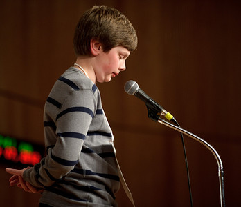 "Daniel J. Murphy - dmurphy@shawmedia.com  St. John the Baptist Catholic School's Nickolas Riedel correctly spells ""philanthropy"" in the 11th round of the McHenry County Spelling Bee  Wednesday March 7, 2012 at McHenry County College in Crystal Lake. Lucas Urbanski went on to win the competition in the 29th round."