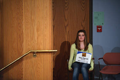 "Daniel J. Murphy - dmurphy@shawmedia.com  Riley School's Kelsey Paprocki takes a seat after misspelling ""indigenous"" in the 23rd round of the McHenry County Spelling Bee Wednesday March 7, 2012 at McHenry County College in Crystal Lake."