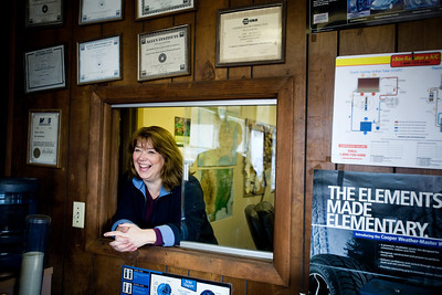 Jenny Kane - jkane@shawmedia.com Ed's Automotive secretary Janice McDonald, of Woodstock, laughs with owner Jim McGrath, known as Junior, at the shop. McGrath has worked at the shop for 25 years and has been an auto repairman for over 40 years. Ed's Automotive has been in business in Woodstock for 48 years.