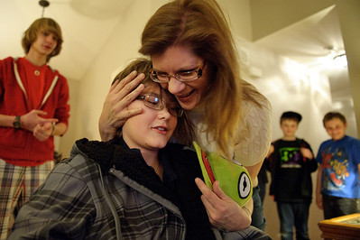 Daniel J. Murphy - dmurphy@shawmedia.com  Pam Doughty hugs her son Brysen Friday, March 9, 2012 in Johnsburg. Doughty is a severe hemophiliac and often homebound while suffering from a bleed. Make-A-Wish surprised Doughty on Friday by decking out his room with electronics; devices he can enjoy when he's at home recovering from a bleed.