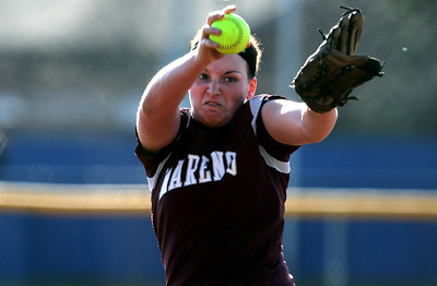 Sarah Nader - snader@shawmedia.com Marengo's Lindsay Melson pitched during Tuesday's season opener against Elmwood Park at Judson University on March 13, 2012. Marengo won, 3-1.