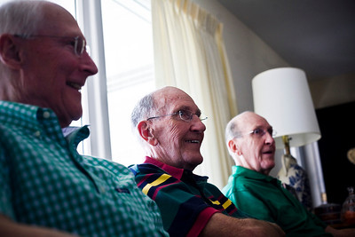 Lance Booth - lbooth@shawmedia.com From left to right, Kenley Spooner, Paul Judson and Phil Judson chat about stories of their IHSA state basketball championship for Alden-Hebron in 1952.