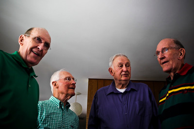 Lance Booth - lbooth@shawmedia.com From left to right, Phil Judston, Kenley Spooner, Bill Schulz and Paul Judson are four of the starters for the Alden-Hebron 1952 basketball champions. They all met up at George Latham, the former Quincy basketball coach's house. Alden-Hebron defeated Quincy for the IHSA state championship.