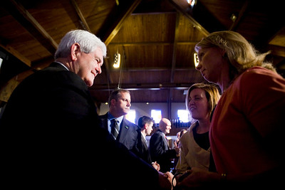Lance Booth - lbooth@shawmedia.com Republican Presidential Candidate Newt Gingrich greets people after speaking at Judson University on Thursday, March 15, 2012. Behind in the primaries and caucuses, Gingrich follows behind Rick Santorum and Mitt Romney for delegates.