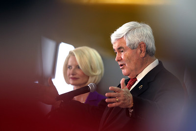 Sarah Nader - snader@shawmedia.com Republican Presidential Candidate Newt Gingrich spoke during a campaign rally at Lake in the HIlls Airport on Thursday, March 15, 2012. Behind in the primaries and caucuses, Gingrich follows behind Rick Santorum and Mitt Romney for delegates.