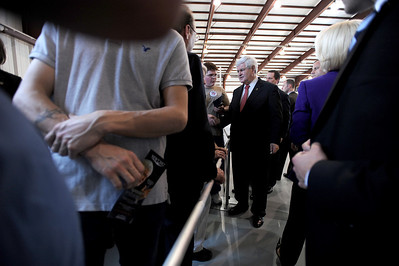 Sarah Nader - snader@shawmedia.com Republican Presidential Candidate Newt Gingrich greets supporters after holding a campaign rally at Lake in the HIlls Airport on Thursday, March 15, 2012. Behind in the primaries and caucuses, Gingrich follows behind Rick Santorum and Mitt Romney for delegates.