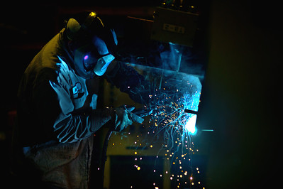 Daniel J. Murphy - dmurphy@shawmedia.com  A worker welds Thursday March 15, 2012 at The Nissan forklift plant in Marengo.