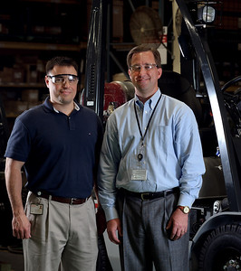 Daniel J. Murphy - dmurphy@shawmedia.com  Vice President of Manufacturing Operations Anthony James Salgado (left) and President Peter H. Kruse (right) in the Nissan Forklift plant in Marengo.