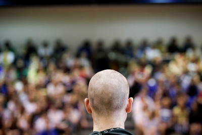 Jenny Kane - jkane@shawmedia.com Woodstock High School senior Norman Dechant gets his head shaved during a St. Baldrick's Foundation fundraiser. St. Baldrick is a charity that raises money for childhood cancer research. Zach Stone raised $2,300 for the organization.