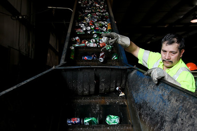 Jenny Kane - jkane@shawmedia.com St. Behr Iron & Metal employee Santigo Mercado, of Woodstock, sorts recycled cans before they are loaded into a machine to be crushed.