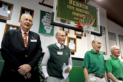 Sarah Nader - snader@shawmedia.com Four of the surviving starters on the Alden-Hebron 1952 state basketball championship team Bill Schulz (left) Paul Judson, Phil Judson, and Ken Spooner were celebrated during the 60th anniversary of the Alden-Hebron 1952 state basketball championship  on Sunday, March 18, 2012 in Hebron. Members of the winning team, including the cheerleaders and community supporters gathered to celebrate and reminisce about the 1952 win that solidified Hebron's place in history.