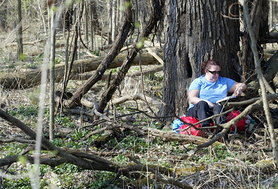 "Lost ""victim"" Jodie Binder of South Beloit, Il. reads a book while waiting for rescue dogs to finder her. Binder spends over five hours in her hiding spot during the training exercise. (AP Photo - Northwest Herald/ H. Rick Bamman) ***CHICAGO LOCALS OUT***"