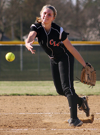 Mike Greene - For the Northwest Herald Crystal Lake Central's Taylor Ward pitches against Richmond-Burton Monday evening in Crystal Lake. The Tigers defeated the Rockets 7-6.