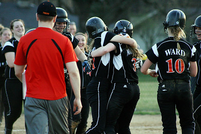 Mike Greene - For the Northwest Herald Crystal Lake Central's Megan Mahaffy celebrates with teammates after driving in two runs to to defeat Richmond-Burton 7-6 Monday evening in Crystal Lake.
