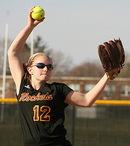 Mike Greene - For the Northwest Herald Richmond-Burton's Haylea Hoskins pitches against Crystal Lake Central Monday evening in Crystal Lake. The Tigers defeated the Rockets 7-6.