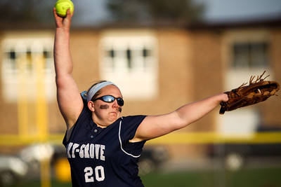 Jenny Kane - jkane@shawmedia.com Tues. March 20, 2012, The Cary-Grove's Lindsay Efflandt pitches during their game against James B. Conant High School.