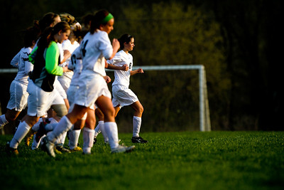 Jenny Kane - jkane@shawmedia.com Prairie Ridge's varsity girls soccer team cools down after they defeated Marian Central in a non-conference game 2-0.