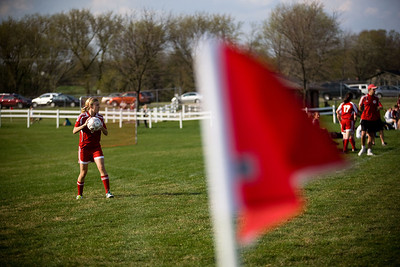 Jenny Kane - jkane@shawmedia.com Marian Central's Abigail Beck prepares to throw the ball in during the first half of their non-conference game against Prairie Ridge. Prairie Ridge defeated Marian Central 2-0.