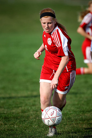 Jenny Kane - jkane@shawmedia.com Marian Central Rebecca Turski drives the ball towards the net during the first half of their non-conference game against Prairie Ridge. Prairie Ridge defeated Marian Central 2-0.
