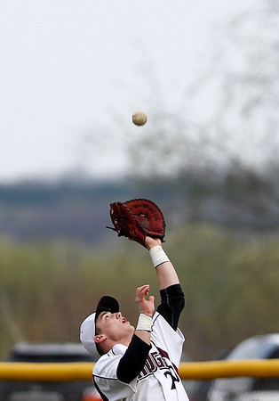 Jenny Kane - jkane@shawmedia.com Prairie Ridge's first baseman Mike Hallstrom catches a pop-fly during the top of the third inning in their non-conference game against Fremd. Prairie Ridge lost to to Fremd 9-10.