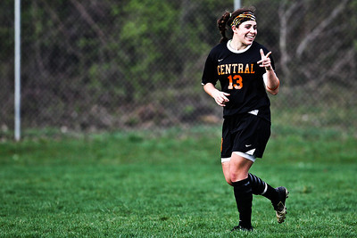 Lance Booth - lbooth@shawmedia.com Crystal Lake Central's Madie Edwardson smiles after scoring a goal on Friday, March 23, 2012. Crystal Lake Central defeated Dundee-Crown with a final score of 4-0.