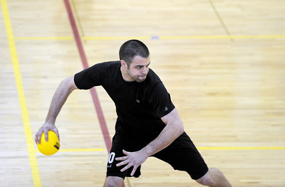Sarah Nader - snader@shawmedia.com Zarin Stone, 27, of Chicago gets ready to throw his ball while participating in the Spring String Charity Dodgeball Tournament in Island Lake on Saturday, March 24, 2012. Proceeds from the game helped to benefit Curesearch for Children's Cancer.