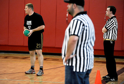 Sarah Nader - snader@shawmedia.com Eric Hunt, 25, of McHenry gets ready to throw his ball while participating in the Spring String Charity Dodgeball Tournament in Island Lake on Saturday, March 24, 2012. Proceeds from the game helped to benefit Curesearch for Children's Cancer.