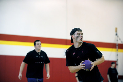 Sarah Nader - snader@shawmedia.com Bruce Paris, 21, of Island Lake gets ready to throw his ball while participating in the Spring String Charity Dodgeball Tournament in Island Lake on Saturday, March 24, 2012. Proceeds from the game helped to benefit Curesearch for Children's Cancer.