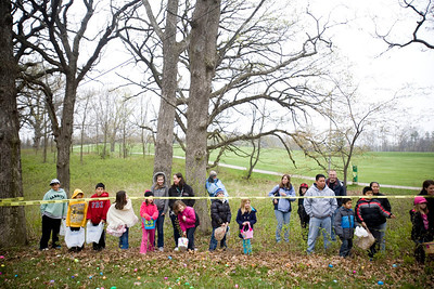 Jenny Kane - jkane@shawmedia.com A group of 7 to 10-year-olds and their parents wait for the Woodstock Jaycees's annual Easter Egg Hunt at the Hilltop Pavilion at Emricson Park in Woodstock on Saturday.