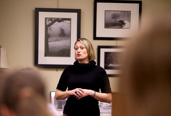 """Sandy Bressner - sbressner@shawmedia.com<br /> Michelle Meyer, executive director of Mutual Ground in Aurora, speaks to members of the Zonta Club of St. Charles-Batavia-Geneva during a panel discussion called """"Breaking the Silence on Domestic Abuse"""" at the Geneva History Center."""