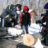 Jeff Krage – For the Kane County Chronicle<br /> Children attempt to drill into maple wood during Saturday's Maple Sugaring Days at Johnson's Mound Forest Preserve.<br /> Elburn 3/2/13