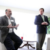 Jeff Krage – For the Kane County Chronicle<br /> Geneva mayoral candidate Bob McQuillan, left, answers a questions as mayor Kevin Burns looks on during Saturday's mayoral forum at Kirkwood Homeowners Association.<br /> Geneva 3/23/13