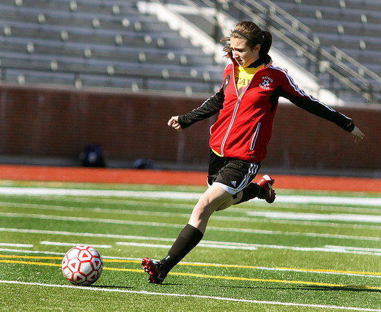 Jeff Krage – For the Kane County Chronicle<br /> Batavia freshman Megan McEachern takes a shot on goal during Friday's practice at Mooseheart.<br /> Mooseheart 3/22/13