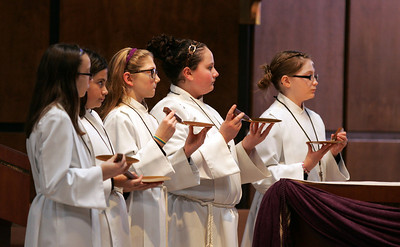 H. Rick Bamman - hbamman@shawmedia.com Alter servers from left Maryclaire Otten, Emma Samano, Jacqueline Mavec, Madden Mackenzie, Valerie Japsen during Ash Wednesday Mass.