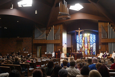 H. Rick Bamman - hbamman@shawmedia.com Parishioners gather at St. Thomas the Apostle Catholic Church in Crystal Lake for Ash Wednesday Mass.