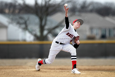 Monica Maschak - mmaschak@shawmedia.com Huntley's Mason Martin pitches for the first two innings of a game against DeKalb on Wednesday, March 27, 2013. Huntley won 16-8 after the game was called for darkness.