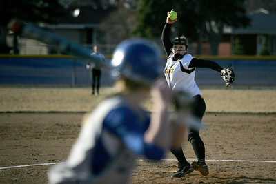 Monica Maschak - mmaschak@shawmedia.com Jacobs' Emily Borg pitches in the fifth inning of a game against Larkin in Elgin on Thursday, March 28, 2013. Jacobs won 10-3.