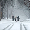 Three friends walk in the street in Geneva during Tuesday's snowstorm. (Sandy Bressner photo)
