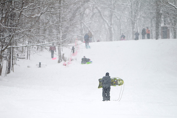 Sledders take to the hill at Johnson's Mound Forest Preserve in Elburn during Tuesday's snowstorm. (Sandy Bressner photo)