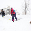 Jeff and Carrie Walter, with their dog Spunky, shovel the driveway of their Elburn home during Tuesday's snowstorm. (Sandy Bressner photo)