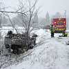 A rollover crash in Batavia during Tuesday's snowstorm. (Nicole Weskerna photo)