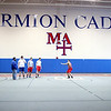 Shot putters practice with the Marmion Academy track and field team in the school's new Regole Fieldhouse.(Sandy Bressner photo)
