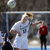 Geneva's Annie Waldoch wins a header during Saturday's game against visiting West Aurora.<br /> (Jeff Krage photo for the Kane County Chronicle)