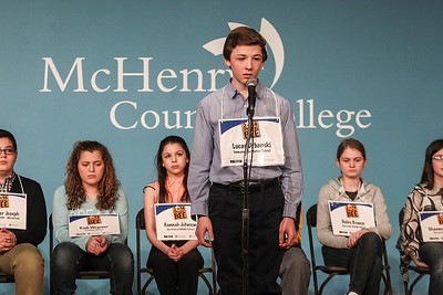 Sarah Nader- snader@shawmedia.com Lucas Urbanski of Crystal Lake spells a word while competing in the McHenry County Spelling Bee at McHenry County College in Crystal Lake Wednesday, March 5, 2014. Lucas Urbanski beat out his sister, Clare, to win the spelling bee for the fourth consecutive time. He will compete in the Scripps National Spelling Bee in Washington at the end of May.